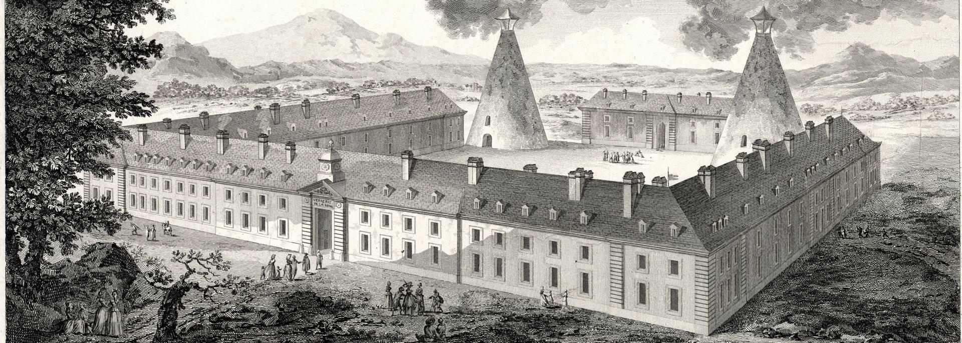 Vue de la manufacture des cristaux de la Reine établie au Creusot, 1787. © CUCM, document Écomusée, reproduction D. Busseuil.