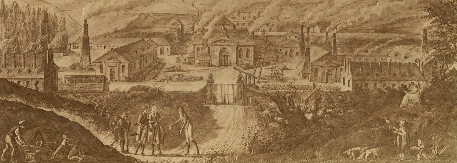 Vue du Creusot en 1806, au centre la Fonderie royale . © CUCM, document Écomusée, reproduction D. Busseuil.