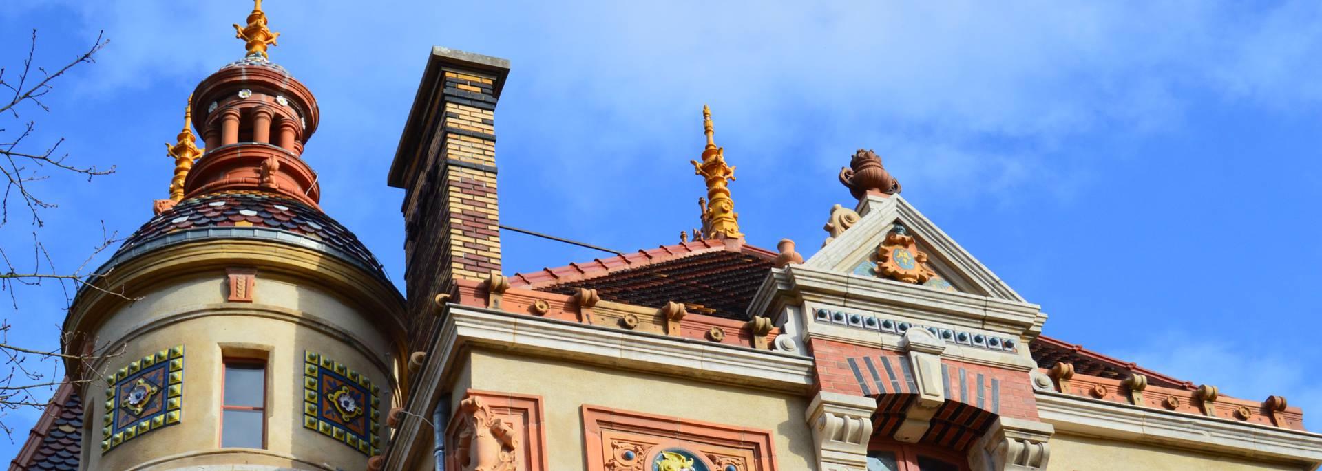 Détail des toitures de la Villa Perrusson, Écuisses. © Creusot Montceau Tourisme.