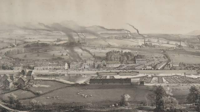 Vue de Montceau-les-Mines en 1857 par Bonhommé. © CUCM, document Écomusée. Reproduction D. Busseuil.
