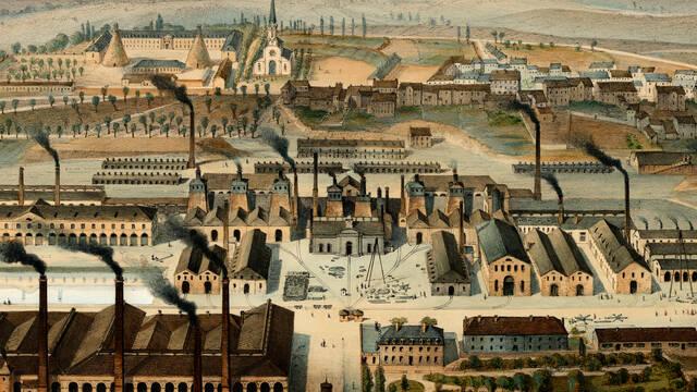 Vue d'ensemble de la ville du Creusot en 1847, avec au premier plan l'ancienne Fonderie royale© CUCM, document Écomusée, reproduction D. Busseuil.