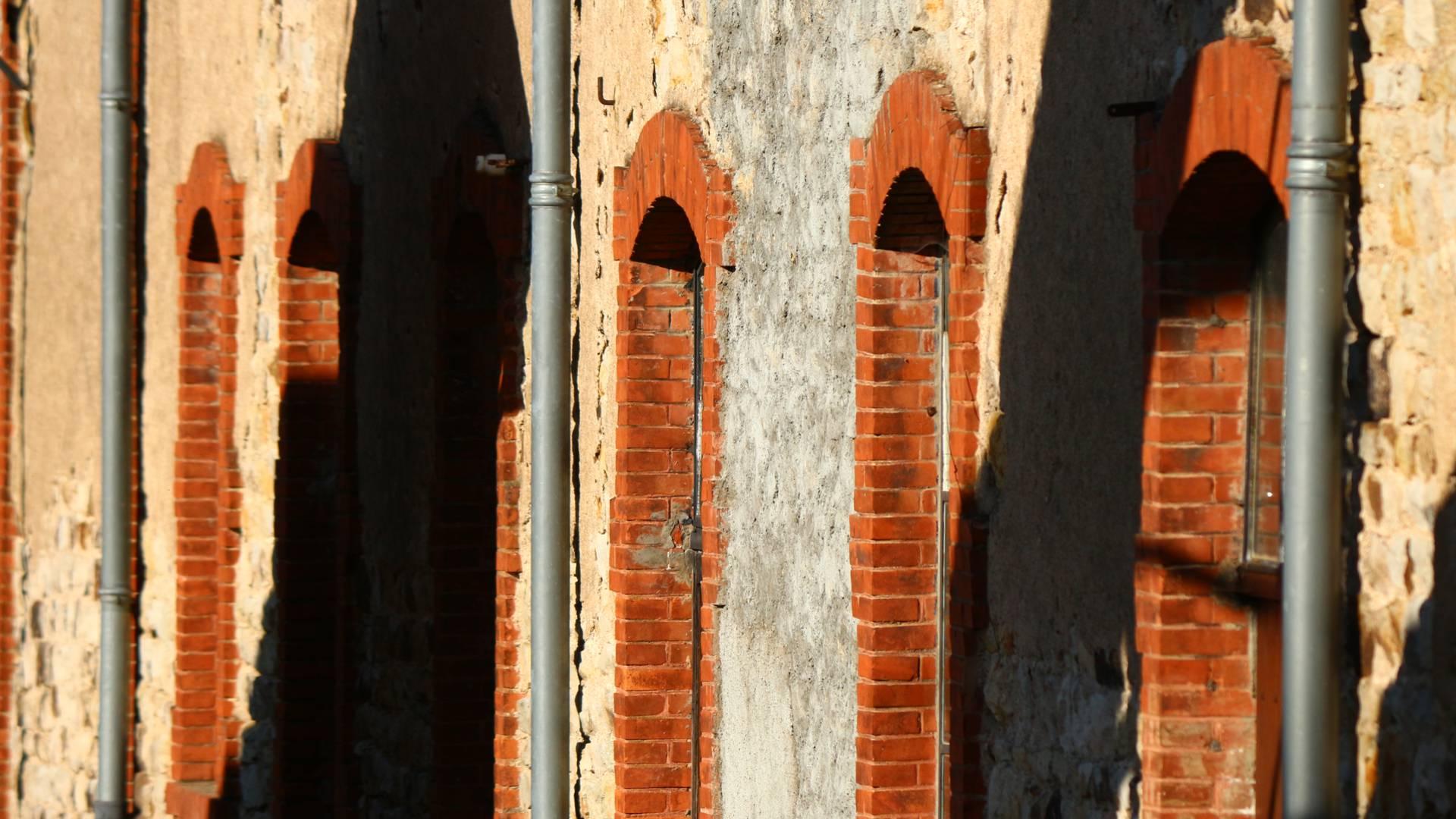 Détail de la façade de la Briqueterie, Ciry-le-Noble. © Cyrille Dinant.