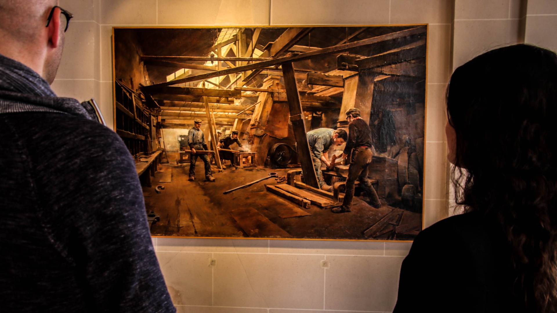 Représentation du travail dans une forge au Musée de l'homme et de l'industrie, Le Creusot. © Lesley Williamson.
