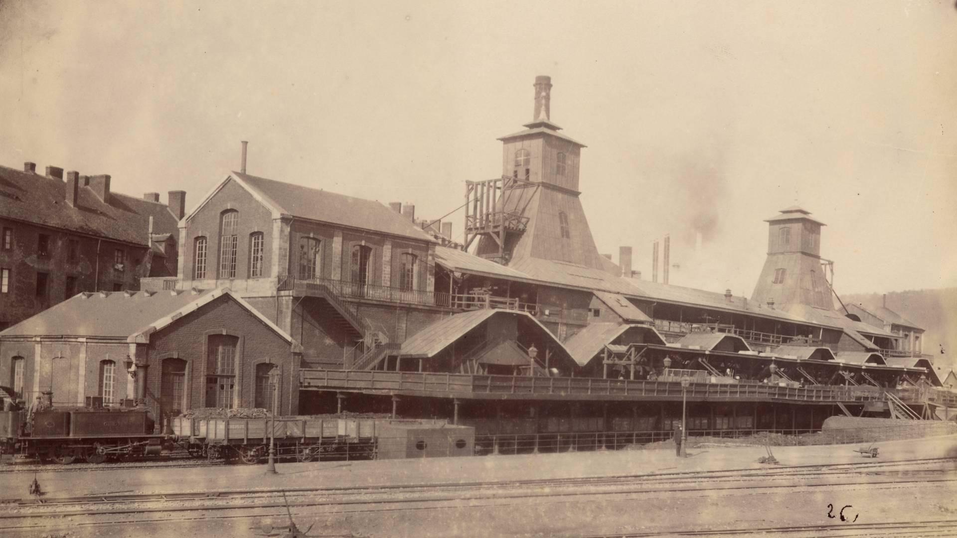 Les puits Saint-Pierre et Saint-Paul au Creusot, en 1881. © CUCM, document Écomusée, reproduction D. Busseuil.