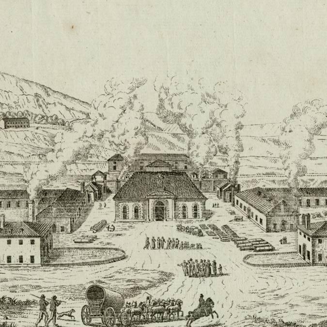 Vue de la Fonderie royale du Creusot en 1785. © CUCM, document Écomusée, reproduction D. Busseuil.