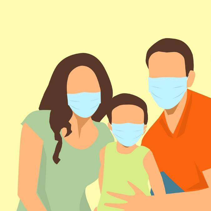 Famille avec masques de protection. © Mohamed Hassan, Pixabay.