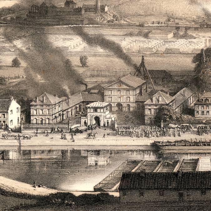 La maison d'administration et les bureaux en 1857, Montceau-les-Mines. © CUCM, Service Écomusée, reproduction D. Busseuil.